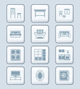 Home furniture icons | TECH series Royalty Free Stock Photo
