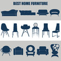 Home furniture, illustrations concept design set, vector Royalty Free Stock Photo