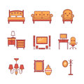 Home furniture signs set. Thin line art icons Royalty Free Stock Photo