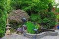 Home Garden Backyard Pond with Decor Royalty Free Stock Photo