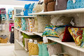 Home goods accent pillows shelf at a store filled with colorful the image orientation is horizontal Stock Photography