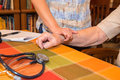 Home healthcare nurse patient vital signs health care taking senior Royalty Free Stock Photo