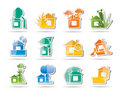 Home and house insurance and risk icons Royalty Free Stock Photography