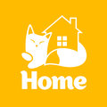 Home icon cozy with fluffy cat Stock Photography