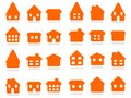 Home icon set house rounded collection illustration group private residential architecture Stock Photography