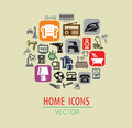 Home icon set vector color on beige Royalty Free Stock Photos