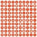 100 home icons hexagon orange