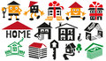 Home icons image of various to residential buildings silhouette on a white background Royalty Free Stock Image