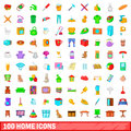 100 home icons set, cartoon style