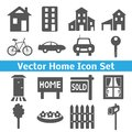 Home icons set real estate vector illustration for your domestic design collection of houses transport and related to picture Royalty Free Stock Images