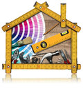 Home Improvement Concept - Work Tools and House Royalty Free Stock Photo