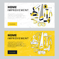 Home improvement corporate web banner template. House construction website layout. Renovation background for professional Royalty Free Stock Photo