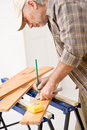 Home improvement - handyman prepare wooden floor Stock Image