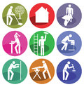 Home improvement icons a set of and craftsmanship Royalty Free Stock Photo