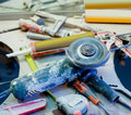 Home improvement  messy clutter with dusted tools Royalty Free Stock Photo
