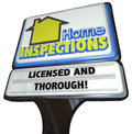 Home inspections sign licensed thorough inspector service inspection words on a business advertising an for reviewing and Royalty Free Stock Photography