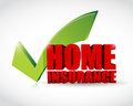 Home insurance approval check mark illustration design Stock Photography