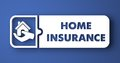 Home Insurance on Blue in Flat Design Style. Royalty Free Stock Images