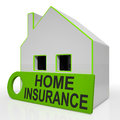 Home insurance house shows premiums and claiming showing Stock Photo