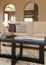 Home in interior sofa and coffee table details. Royalty Free Stock Photo