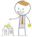 Home investment doodle stick figure concept collecting money to a house Royalty Free Stock Photos