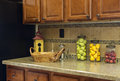 Home Kitchen Counter With Fruit Jars Stock Photos