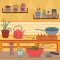 Home kitchen with kitchenware utensils, shelves, herbs and spices on wooden table vector illustration, design element Royalty Free Stock Photo