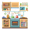 Home kitchenware food and devices in color vector flat illustration stove oven with baking refrigerator condiments Stock Photos