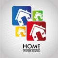 Home labels over gray background vector illustration Royalty Free Stock Photography