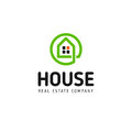 Home linear vector logo. Smart house line art green and black logotype. Outline real estate icon.