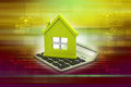 Home loan concept in color background Stock Photography