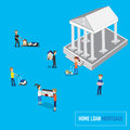 Home loan or mortgage banking concept with micro people carry th Royalty Free Stock Photo