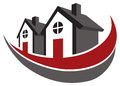 Home logo a row of homes icon design Stock Photography