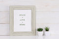 Home, love, family  and happiness concept. Poster in frame shabby chic, vintage style. Scandinavian style home interior decoration Royalty Free Stock Photo