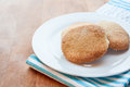 Home made bisucuits a white plate of biscuits Royalty Free Stock Images