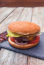 Home made cheese burger Royalty Free Stock Photo