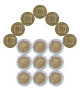 Home made from Israeli coins Royalty Free Stock Photo