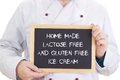 Home made lactose free and gluten free ice cream cook with blackboard is showing Royalty Free Stock Image