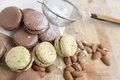 Home made macarons with power sugar and almonds Royalty Free Stock Image