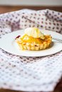 Home made mini pie berries with fresh cream and golden syrup Royalty Free Stock Photo