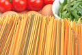 Home made raw spaghetti in different colour Royalty Free Stock Photo