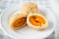 Home made Sweet Dumplings filled with apricot Royalty Free Stock Photo