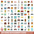 100 home management icons set, flat style
