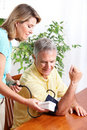Home monitoring of blood pressure Stock Images