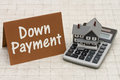 Home Mortgage Down Payment, A gray house, brown card and calcula Royalty Free Stock Photo