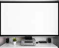 Home multimedia center setup in room Royalty Free Stock Photo