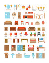 Home and office furniture interiors flat icons set Royalty Free Stock Photo
