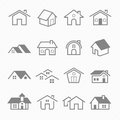 Home outline stroke symbol icons vector Royalty Free Stock Photography