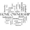 Home ownership word cloud concept in black and white with great terms such as property dream pride bank more Stock Photo