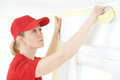 Home Painter with masking tape Royalty Free Stock Photo